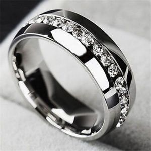 Jewelry - Unisex Stainless Steel  Diamond Ring
